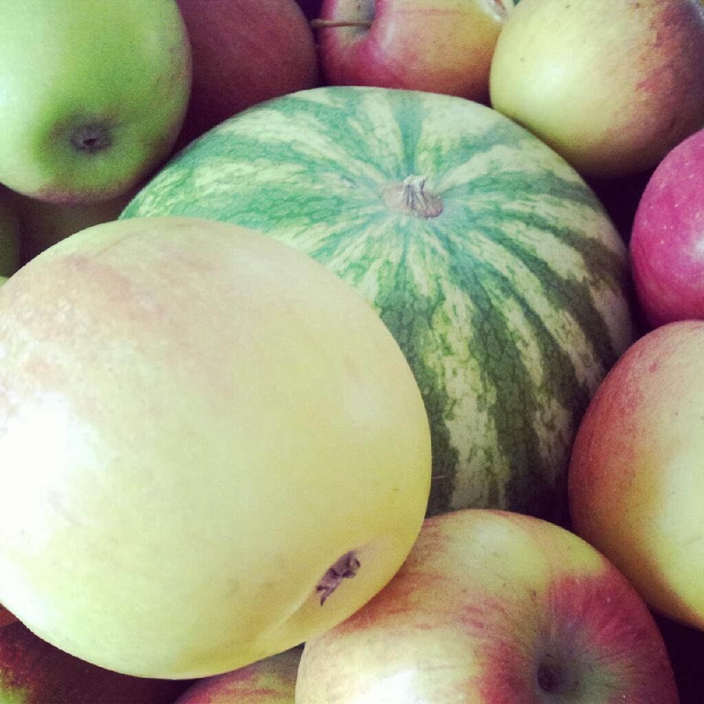 Äpfel und Melone