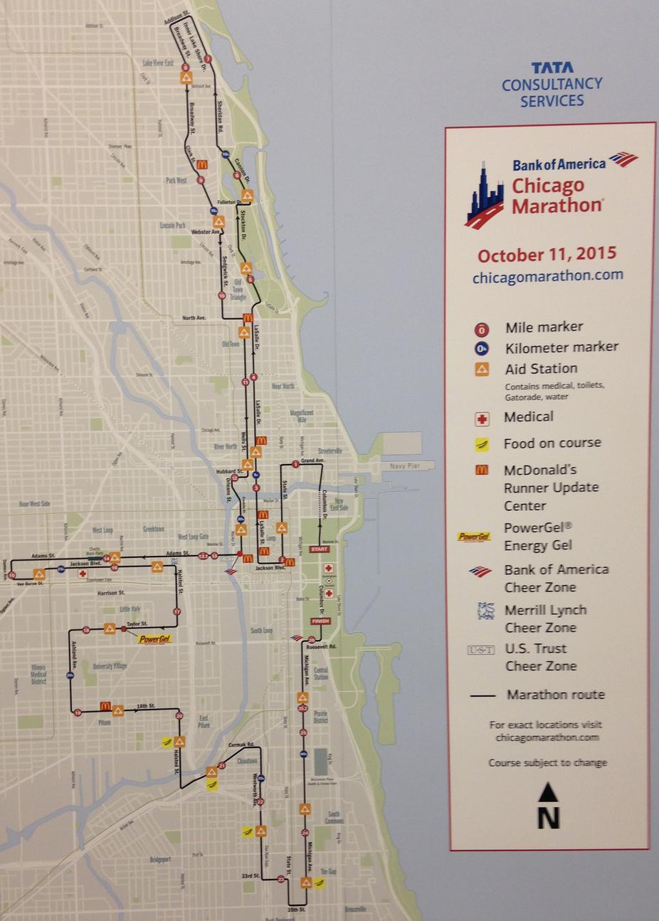 Streckenplan Chicago Marathon 2015