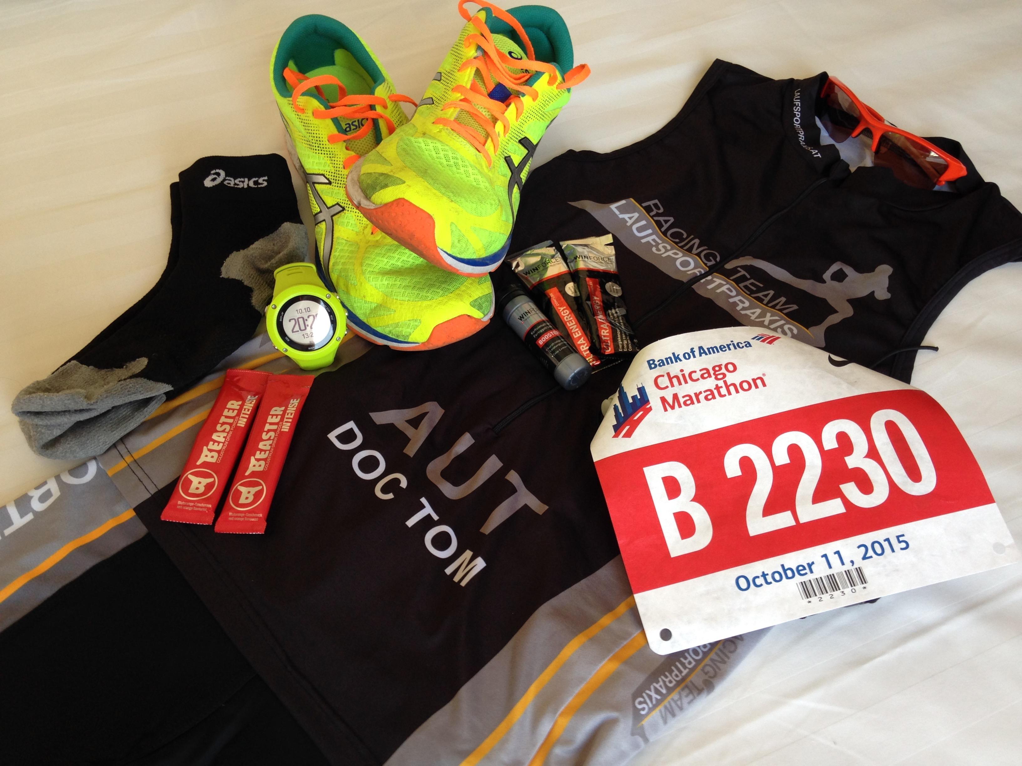 Wettkampfequipment Chicago Marathon