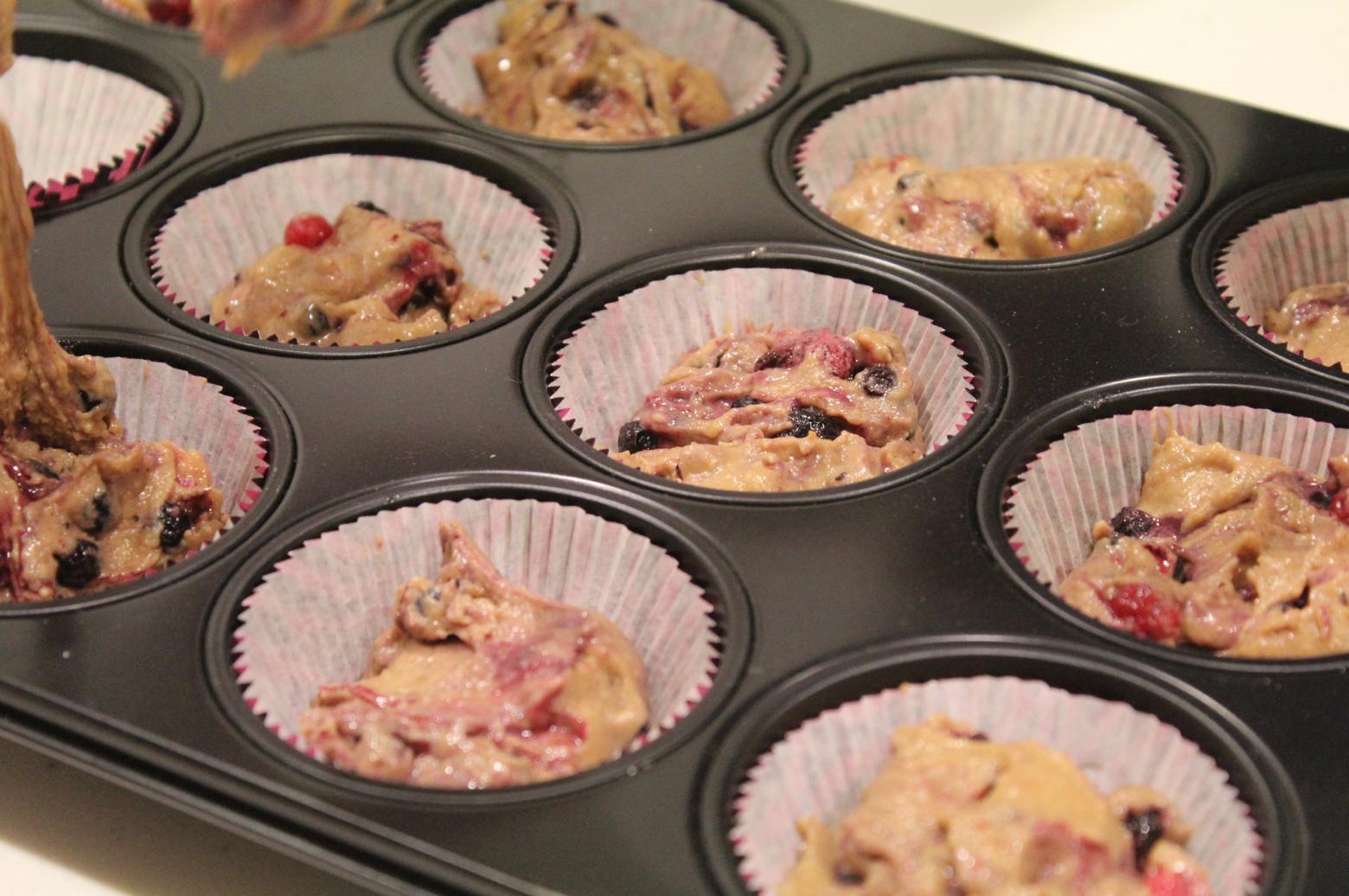 1 vegane Muffins mit Beeren