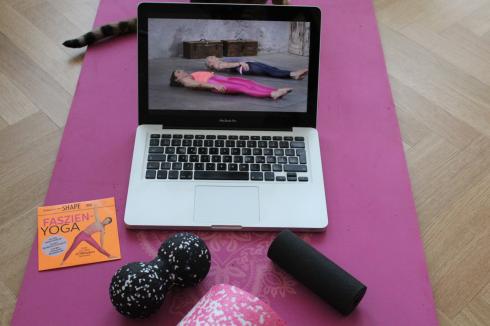 14 Faszien Yoga mit Katze