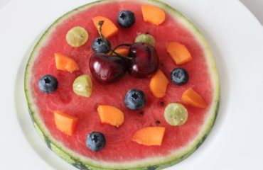 Melone Pizza aus Obst