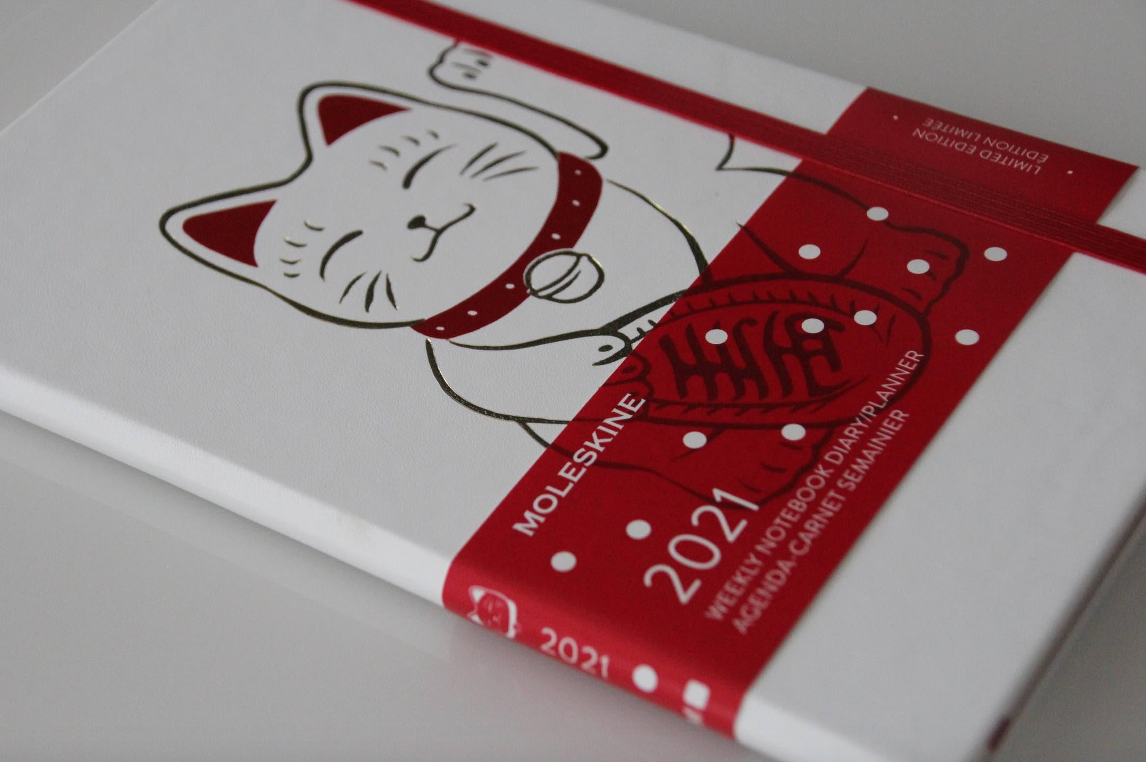 Kalender mit Katze rot Moleskine 2021